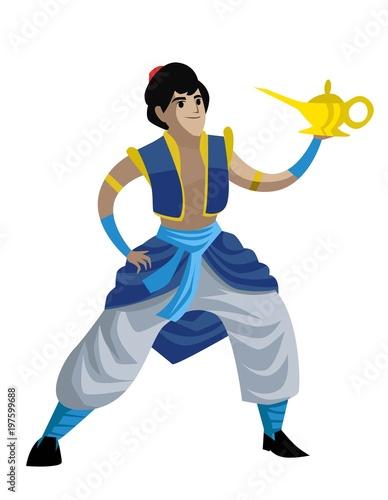 Aluminium Prints Fairytale World arabian hero with magical genie lamp
