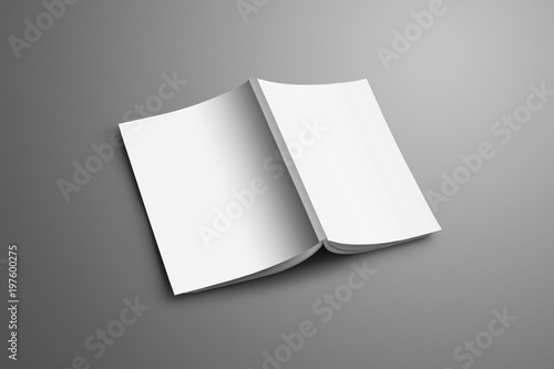 Photo  Universal blank A4, (A5) catalog with soft realistic shadows isolated on gray background