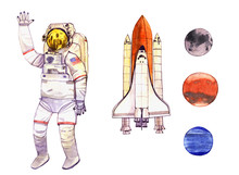 Watercolor Set Space Illustrat...