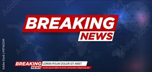 Fototapeta Breaking news. Breaking news live on world map background. Vector illustration. obraz