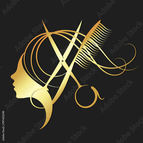 Girl and hairdressing scissors gold color Wallpaper Mural