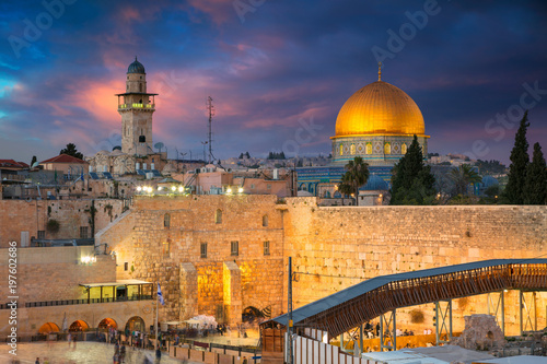 Jerusalem. Cityscape image of Jerusalem, Israel with Dome of the Rock and Western Wall at sunset.