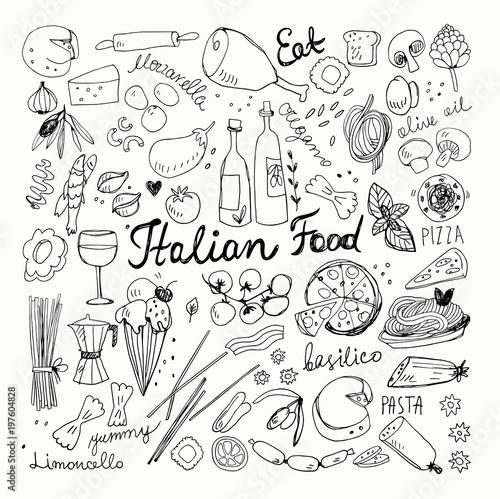 In de dag Boho Stijl Hand Drawn Italian Food Doodle Collection. Vector Illustration