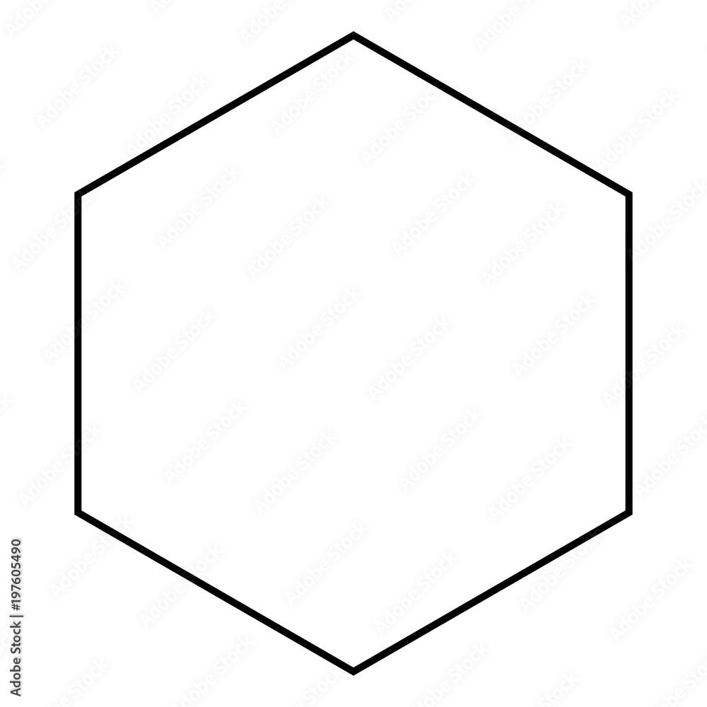 Fototapety, obrazy: Hexagon icon black color illustration flat style simple image