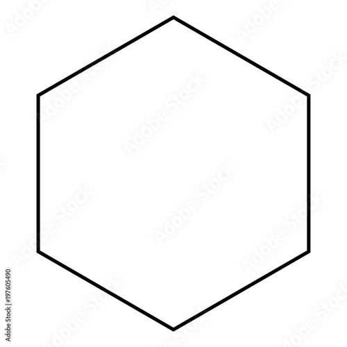 Photo Hexagon icon black color illustration flat style simple image