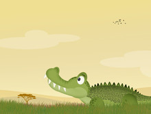 Illustration Of Alligator In T...