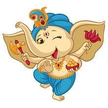 Ganesha Elephant Cartoon Vecto...