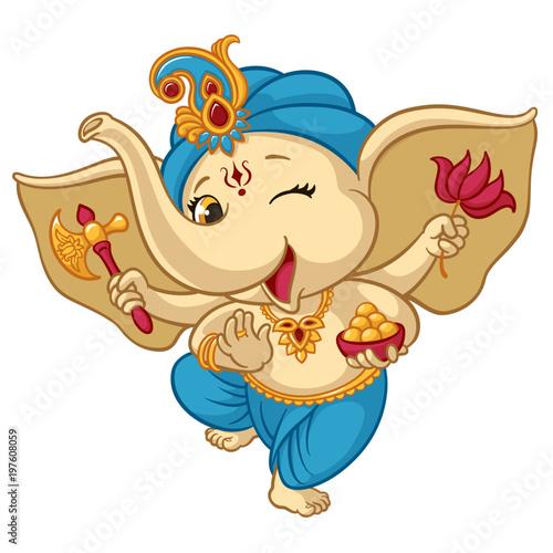 Photo Ganesha elephant cartoon vector illustration for traditional Hindu festival