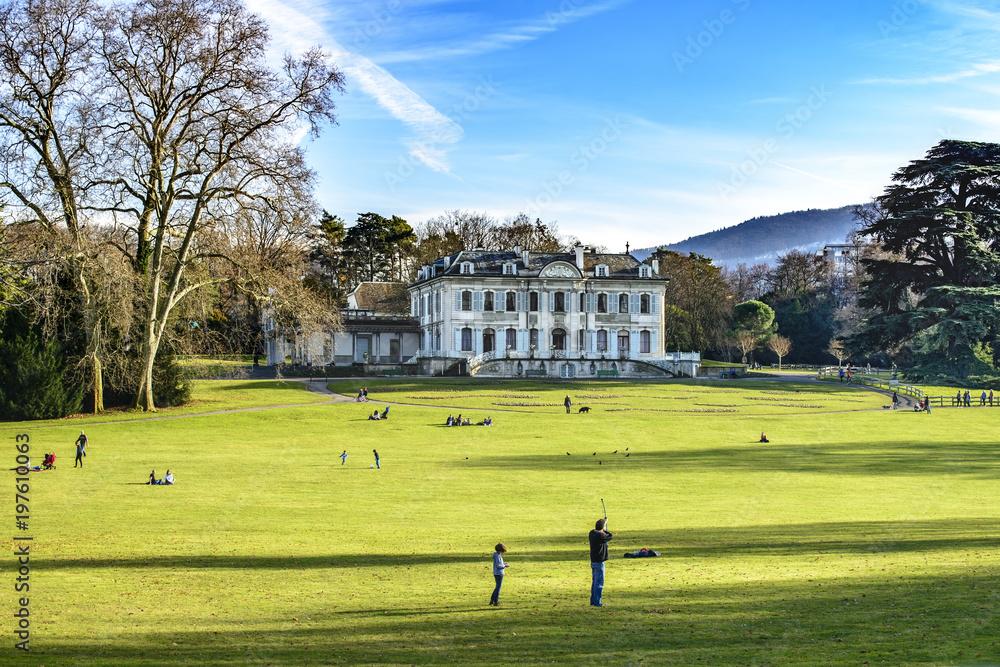 Fototapety, obrazy: Spring afternoon at Park La Grange, Villa La Grange, Geneva