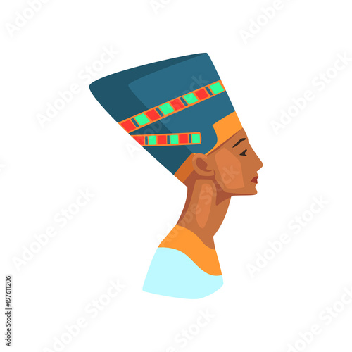 Colorful illustration of Egyptian queen  Statue of Nefertiti