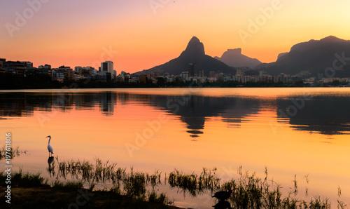 Beautiful View of Rio de Janeiro Sunset Behind Mountains at Rodrigo de Freitas Lake Wallpaper Mural