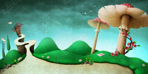 Photo Stands Turquoise Conceptual fantasy background for illustration or poster or photo wallpaper with story Wonderland