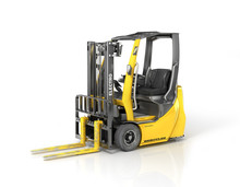 Modern Forklift On A White Background. 3d Illustration
