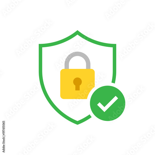 Photographie  Shield with padlock and check mark. Modern flat vector icon