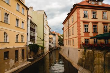 Fototapeta na wymiar PRAGUE,CZECH REPUBLIC - JUNE 23, 2017: view of channel in old town in Prague, Czech Republic