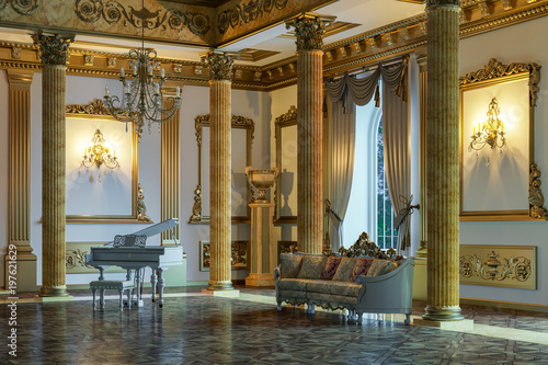 The ballroom and restaurant in classic style. 3D render. Fototapet