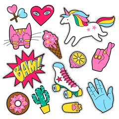 Set of different badges. Fashion patches, stickers, pins and signs with heart, hand, unicorn, speech bubbles in 80s 90s style isolated on white background.