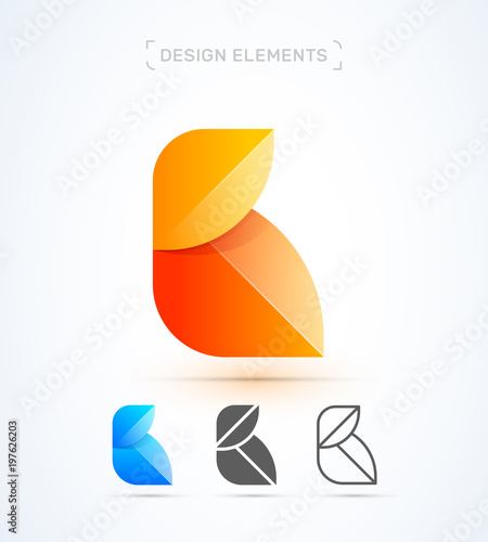 B Letter Yellow Leaf Vector Abstract Logo Template Material Design Origami Paper
