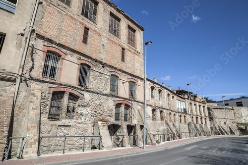 Industrial zone, old buildings, city has a long tradition of tanning and textile industries, Igualada, province Barcelona, Catalonia Wallpaper Mural