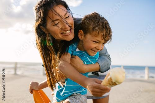 Fotografie, Obraz  Mother and son enjoying vacation