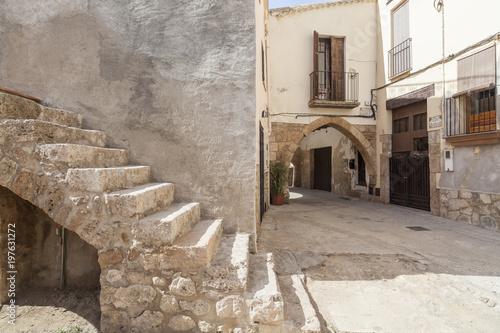 Street village view, Piera, province Barcelona, Spain. Canvas Print