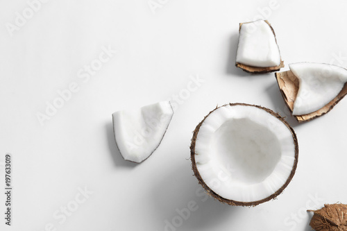 Ripe coconut on white background, top view