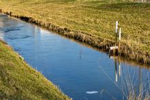 Dutch Dike Full Of Vegetation Green Grass Frozen Ice Water Trees