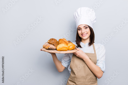 Leinwand Poster White uniform high hat industry manufacture people eating nutrition concept
