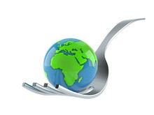 Fork With World Globe