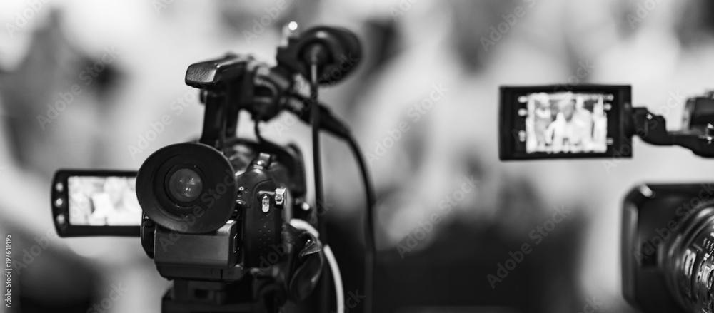 Fototapeta Camera at media conference