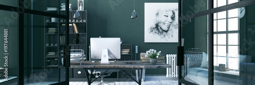 Fototapeta Comfortable working place, office decor. 3d render obraz