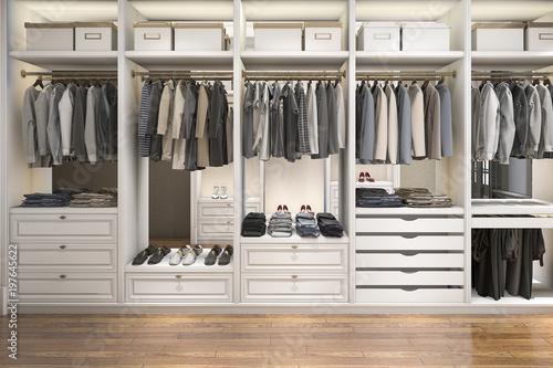 Fotografía  3d rendering modern scandinavian white wood walk in closet with wardrobe