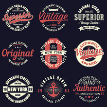Vintage Original Typography Set. Retro Print For T-shirt Design. Graphics For Authentic Apparel. Collection Of Tee Shirt Badge. Vector Illustration.