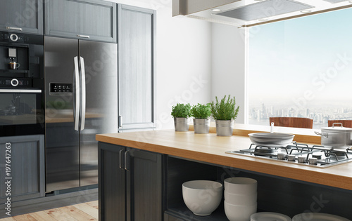Cucina moderna di design minimal, luminosa con arredo, 3d ...