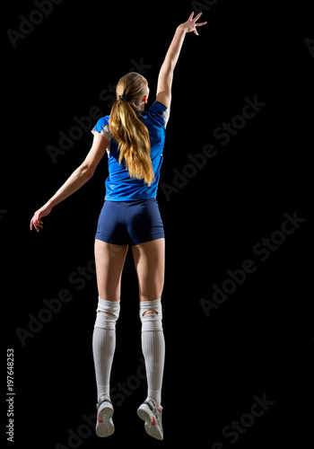 Woman volleyball player isolated (version without net and ball)
