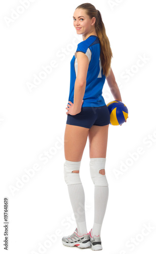 Woman volleyball player isolated