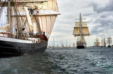 Sailing ships on the regatta. Yachting. Sailing