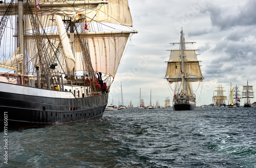 Sailing ships on the regatta. Yachting. Sailing
