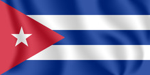 Flag Of Cuba. Realistic Waving...