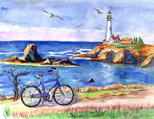 Seascape With A Lighthouse And...