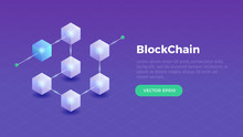 Blockchain Concept Slider Banner Design With Isometric Blocks Chain Illustration And Text Vector Illustration