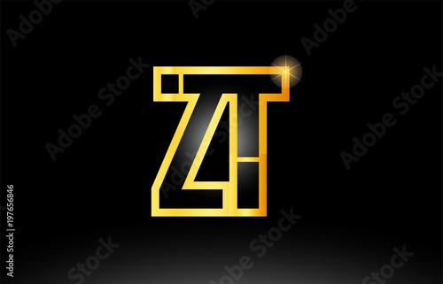 gold black alphabet letter zt z t logo combination icon