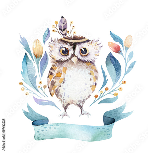 Poster Uilen cartoon Cute bohemian baby owl animal for kindergarten, woodland nursery isolated decoration forest owls illustration for children forest animals pattern. Watercolor hand drawn boho set