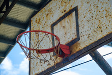 Old Basket Ball Hoop Closeup -...