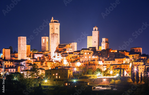 Evening view on San Gimignano city center UNESCO heritage, Italy Wallpaper Mural