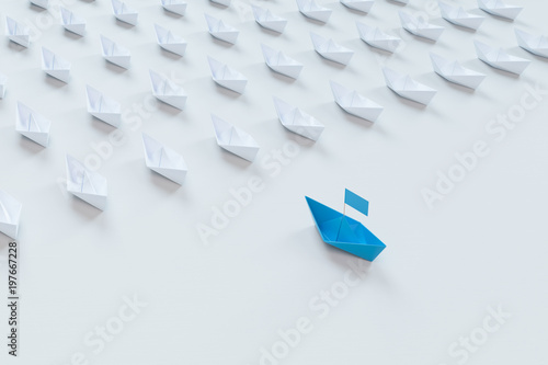 Fototapety, obrazy: Leadership concept with red paper ship leading among white on white background.3d rendering.