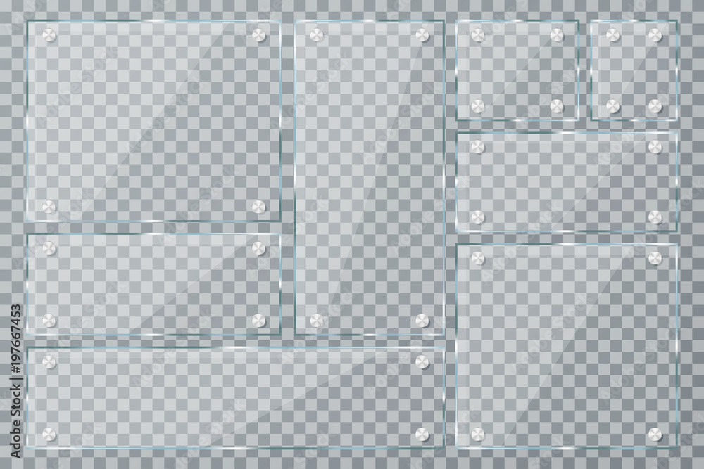 Fototapeta Glass plates on transparent background. Empty realistic acrylic plates with metal clamps