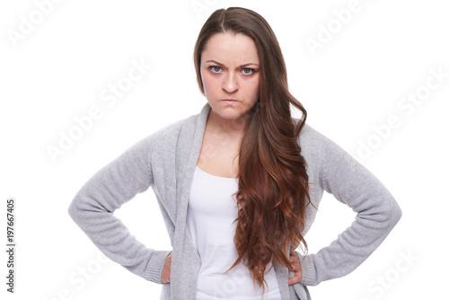 serious angry woman looking at camera Wallpaper Mural
