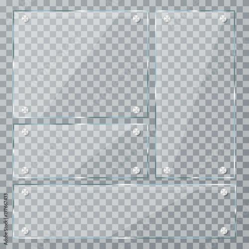 Stampa su Tela Glass plates on transparent background