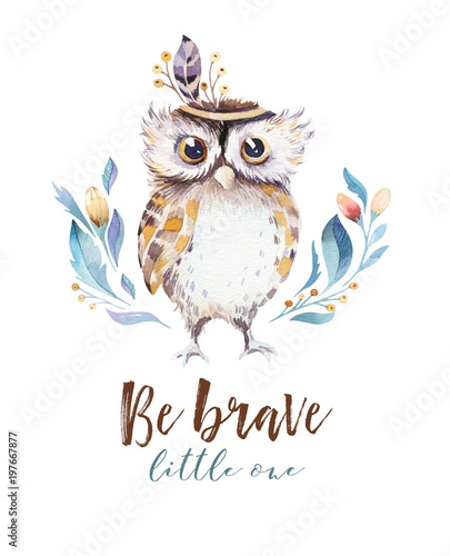 Cute bohemian baby owl animal for kindergarten, woodland nursery isolated decoration forest owls illustration for children forest animals pattern. Watercolor hand drawn boho set